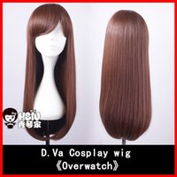 Wholesale Hsiu_D Va cosplay wig DVA wigs cm Long Games OW Brownish red Animation Comic Character modeling Wig net weight g