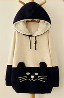big cat sweater - Big Girls Hooded Sweater Cartoon Cat Fleece Hoodie Pullover Sweatershirt Girls Warm Hoodies sizes