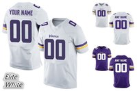 Wholesale 2016 MNST Vikings Personality Men s Elite Custom Home Away White Purple Football Jerseys PETERSON BARR High Quality Stitched Wear