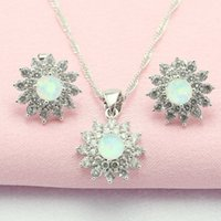 Wholesale Flower White Opal Zircon Sterling Silver Jewelry Sets For Women Necklace Pendant Stud Earrings Made in China