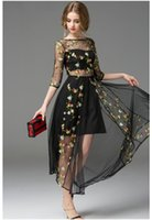 Wholesale Hot black embroidery morning glory long sleeve gauze runway formal dress mesh embroidered maxi boutique dress big show catwalk full dress