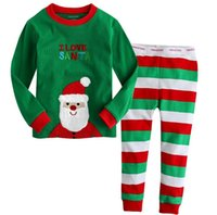 Wholesale new cotton Long sleeves girls boys children clothing sets suits pajama age fashion kids sleepwear Christmas suits