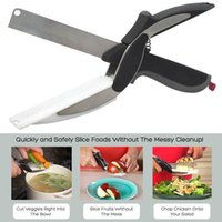 Wholesale 2 in Kitchen Smart Scissors Knife Set With Mini Cutting Board Clever Cutter Kitchen Knives