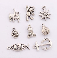 antique teddy bears - 160Pcs styles Antique Silver Ladybug Teddy Bear Anchor Dog Fish Jesus Spacer Charm Beads Pendants Alloy Handmade Jewelry DIY LM5