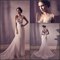 Wholesale 2016 Anna Campbell Scoop Neck Backless Sheath Wedding Dresses Lace Beaded Appliques Beaded Bow Belt Ruched Sweep Train Bridal Gowns