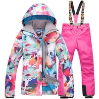 Wholesale Gsou Snow Women Waterproof Ski Suit Female Ski Jacket and Pants Double Plate Winter