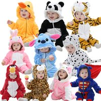 Wholesale Baby Clothes Flannel Baby Boy Clothes Cartoon Animal Jumpsuit Baby Girl Rompers Baby Clothing superhero cute