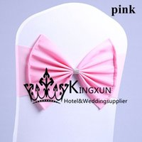 Wholesale Pink Color Lycra Spandex Chair Band With Poly Bow Used For Wedding Spandex Chair Cover