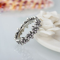 Wholesale The new Korean wave romantic sweet flower shaped ring personality female flower accessories Ring plated Thai silver jewelry