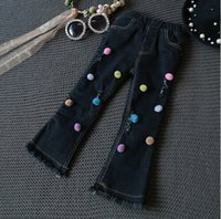 Wholesale Han edition of the new girls jeans winter children color hair bulb with velvet thickening flares