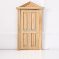 Wholesale Unpainted Panel Exterior Dollhouse Miniature Wooden Fairy Door