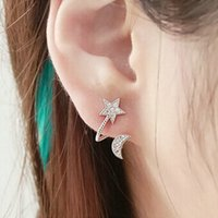 Wholesale 2016 Hot Selling New Fashion Exquisite Lady Earrings Trendy Stars Moon Pattern Clip Earrings Love Moon clip Earrings