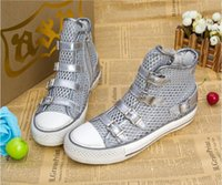 Wholesale 100 Real Photos Ash Vanessa Sneakers Fabric Silver Black Hollow Mesh And Leather Shoes High top Breathable Trainers Flat Heel Casual Shoes