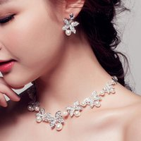 Wholesale 2016 Wedding Bridal Prom Rhinestone Pearlsl Jewelry Necklace Earring Set Silver Plated Bridal Jewelry