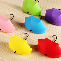 bathroom wall clothing - 2016 Colorful Umbrella Wall Hooks Self Adhesive Walls Door Hangers Key Hairpin Organizer Decorative Bathroom Kitchen Sticky Holder
