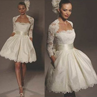 best robe - 2016 New Best A Line Hot Sale Fashion Short Wedding Dress White With Sleeve Lace Jacket Robe Dress
