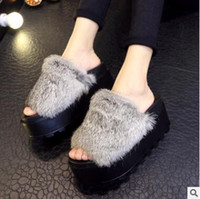 Wholesale Women Ladies Platform Slippers Real Rabbit Hair Shoes Girls Slippers Summer Antislip Fahion New Black Gray