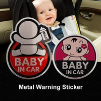 aluminum metal roofing - Top Quality DIY Baby in Car Sign Car Sticker D Cartoon Aluminum Warning Sticker Motorcycle Metal Adhesive Vinyl Sticker