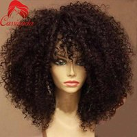 afro american hairstyles - Unprocessed Mongilian Kinky Curly Full Lace Wigs with Bangs Glueless Density Afro Kinky Full Lace Front Wigs For African American