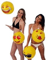 Wholesale 2016 Newest inches Emoji PVC Inflatable Beach Balls Inflatable Ball Pool Outdoor Play Beach Toys