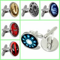 Wholesale 2016 New Time stone Cuff Links Deadpool Logo Cufflinks round shape Metal Cuff link random delivery