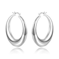 Wholesale 925 Sterling Silver Hollow Oval Hoop Earrings Small