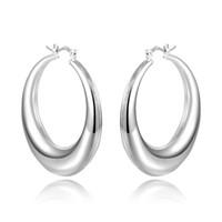 Wholesale 925 Sterling Silver Hollow Oval Hoop Earrings Small