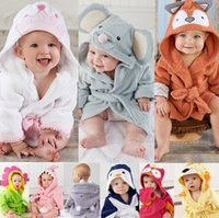 Wholesale Baby Cute Animal Towel Lovely Cartoon Robe Owl Hippo Fox Mice Print with Hoddies Waist Belt