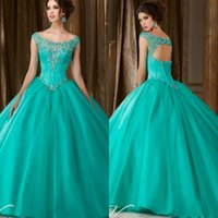 baile party - Elegante Coral Hunter Green Ball Gowns Quinceanera Dresses vestido de Baile Sweet Lace Up Cap Sleeves Beaded Long Prom Party Gowns
