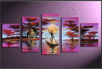 Wholesale 100 Hand Painting High Quality Tree Bote Sea Sun People Oil Painting On Canvas Abstract Landscape Wall Picture For Living Room
