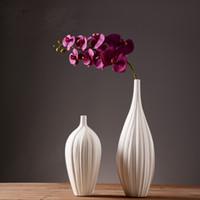 porcelain vase - Elegant Style Top Quality Pure Handmade Porcelain Two Size Flower Shape Vases Interior Design Pot Luxury Modern Style Decorative Ceramic A
