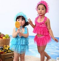Wholesale Beach Cnlumy summer children new cute wave Girls female baby swimsuit split skirt style swimwear cap girl swimwear DHL freeshippinig