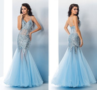 baby blue evening gowns - 2017 Baby Blue Luxury Beads Crystals Evening Dresses Spaghetti Sweep Train Tulle Mermaid Prom Dresses Formal Evening Gowns Party Dresses