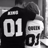 Wholesale Valentine Shirts Woman Cotton King Queen Funny Letter Print Couples Leisure T shirt Man Tshirt Short Sleeve O neck T shirt