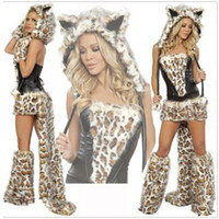 Wholesale New Sexy Leopard Cat Suits Adult Wolf Costumes With Tail Fancy Cosplay Costume For Women Halloween Party Fur Animals Cats R700