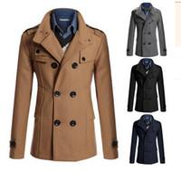 Wholesale 2016 Korean Character Mens Windbreaker Jackets Black Double breasted Cloak Windbreaker Wool Epaulet Trench Coats