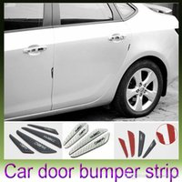 auto door edge protector - 4PCS Car Carbon Fiber Protector Auto Car Rearview Mirror Side Door Bumper Carbon Fiber PU Surface Anti Rub Door Edge Strips
