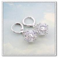 ball earrings zircon - Platinum Plated Dangle Earrings For Women Bijoux CZ Zircon Ball Drop Earrings Fashion EW