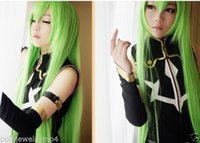 apples synthetic wig - 100 Hot Sell Brazil dark haired woman wig cosplay Heat Resistant synthetic Code Geass R2 C C Long Apple Green Mix Straight Wig cm