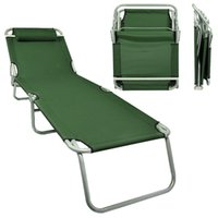 Wholesale Portable Lawn Chair Folding Outdoor Chaise Lounge Beach Patio Army Green