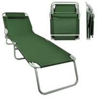 beach chaise lounge chair - Portable Lawn Chair Folding Outdoor Chaise Lounge Beach Patio Army Green