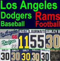 angeles sports - New Stitched American Football Baseball Jersey Los Angeles Dodgers Rams Jersey Cheap Authentic Sports Jerseys China Todd Gurley Jerseys