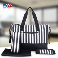 Wholesale 2016 New Fashion Stripe Travel Baby Diaper Bags Waterproof Nappy Bags Multifunctional Changing Messenger Bag Tote Bags
