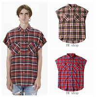 Wholesale justin bieber streetwear clothes hiphop clothing side zipper plaid short sleeve shirt mens dress shirts fear of god style