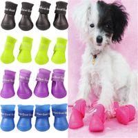 Wholesale Brand new Lovely Portable Pet Dog Waterproof Boots Rain Shoes Candy Colors S M L XL set