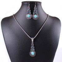 Wholesale Retro Pattern European Fashion Blue Crystal Turquoise Gourd Pendant Women Tibetan Silver Chain Necklace Hook Earrings Vintage Jewelry Set