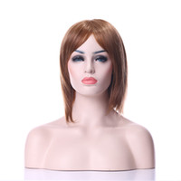 Wholesale 2016 New Arrival Hot Stylish Carved Hair inches Middle Long Straight Light Brown Synthetic Hair Cosplay Wig Party wig Full Wigs