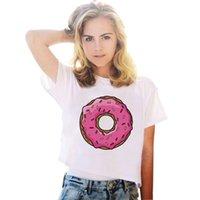 big polka dots - Sea Mao2016 Hot Sale F1757 Summer Punk Style T shirt Women The Big Donut Printed Short White Harajuku Tops Tees For Girls