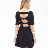 american van lines - European and American decorative sexy halter tie back Hole Van Slash Neck short sleeved Black dress Women A1542