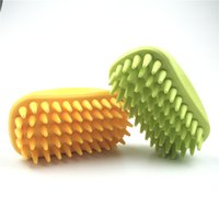 big cat teeth - pet groom deshedding tool pet brush dog cat product comb Yellow Green Massage Comb with inch big rubber teeth